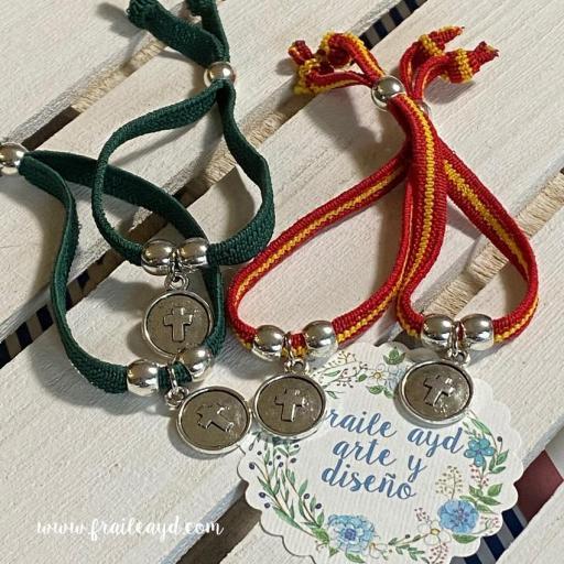 Pack 10 Pulseras elásticas verde o España medalla cruz relieve [1]