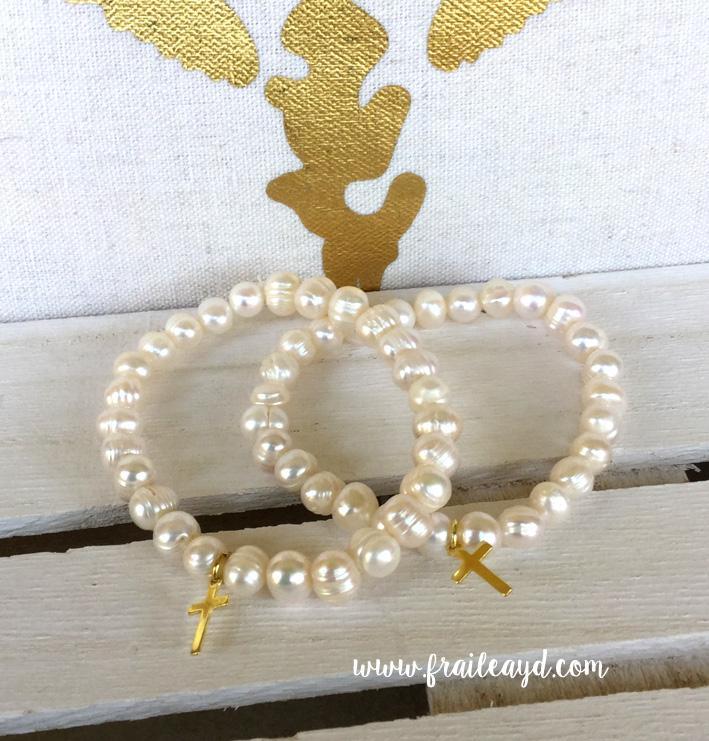 Pulseras de perlas con cruz plata chapado oro