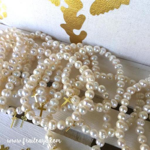 Pulseras de perlas con cruz plata chapado oro [1]