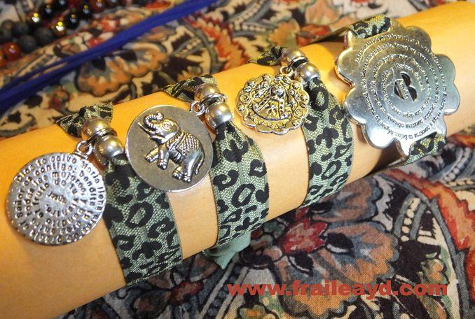 Pulseras elásticas leopardo caqui