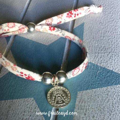 """Pulsera liberty medalla Virgen del Rocío """"Xfa cuídame mucho"""" plata sencilla"""