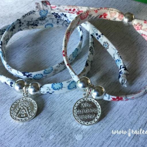 """Pulsera liberty medalla Virgen del Rocío """"Xfa cuídame mucho"""" plata sencilla [1]"""