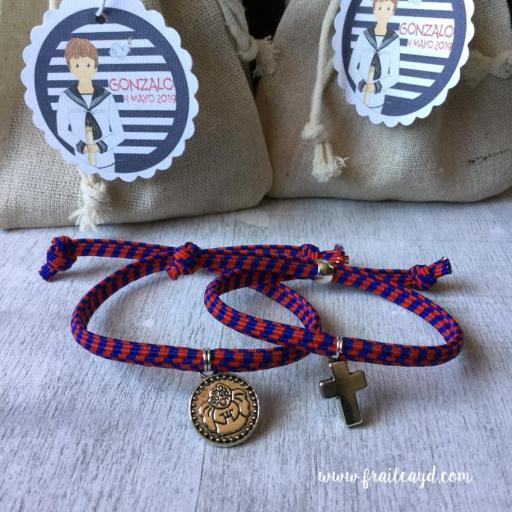 Pack 10 Pulseras naúticas elásticas con medalla o cruz [2]