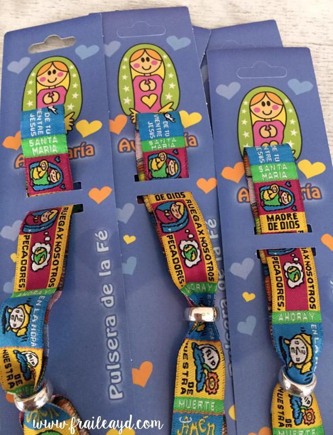 Pack 24 pulseras de oración Padrenuestro, Avemaría o Ángel de la Guarda