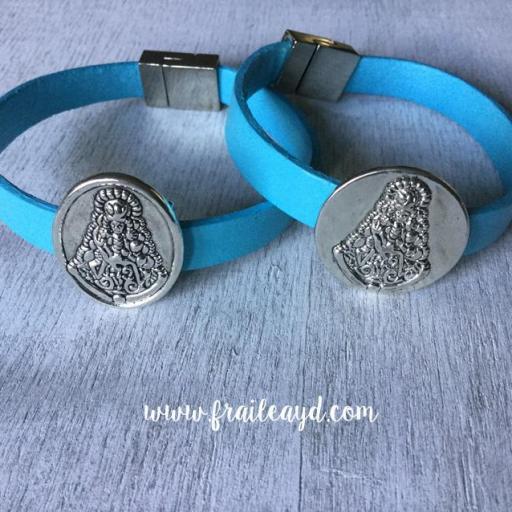 Pulseras Virgen del Rocío piel azul turquesa