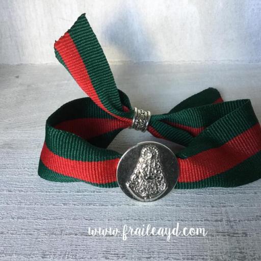 Pulsera Virgen Rocío pasante cinta de rayas [1]