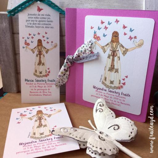 Marcapáginas Mariposas Mon Air 9x14 cm con puntilla o lazo liberty [2]