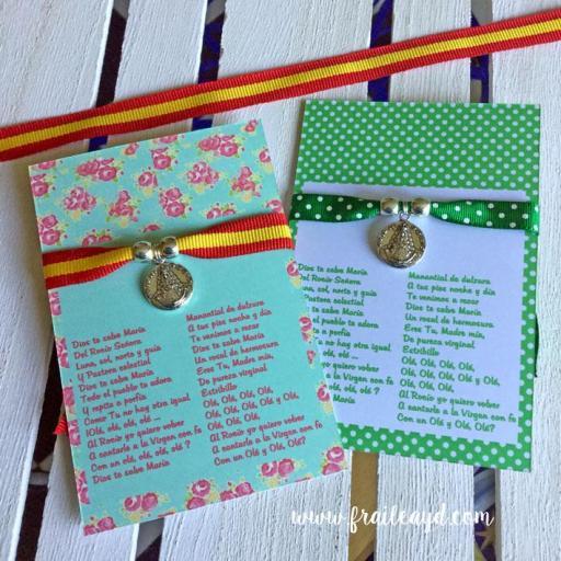 Pulsera cinta de lunares verdes medalla Virgen del Rocío pequeña [2]