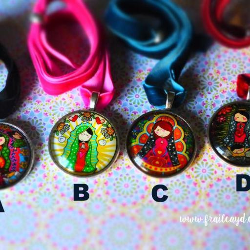 Choker (gargantilla) medallas Vírgenes Mexicanas
