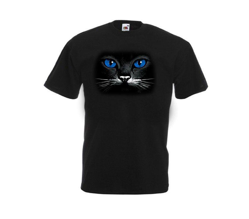 Camiseta Negra ojos gatos Azules