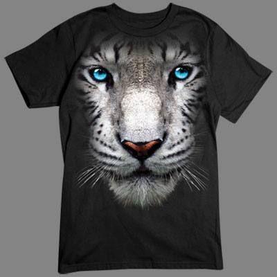 Camiseta en 3D tigre blanco