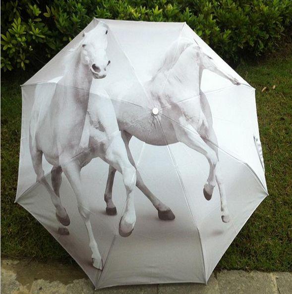 Paraguas caballos blancos