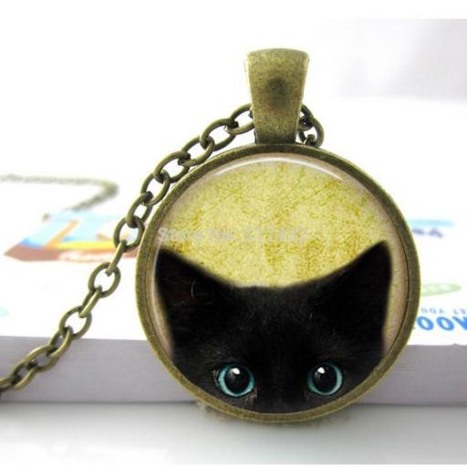 Colgtante con gato negro