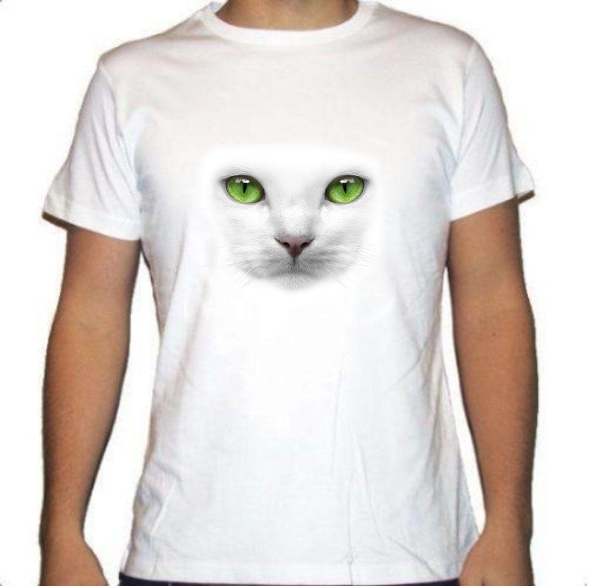 Camiseta blanca ojos gato verdes