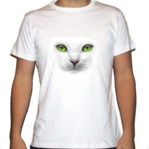 Camiseta blanca ojos gato verdes [0]