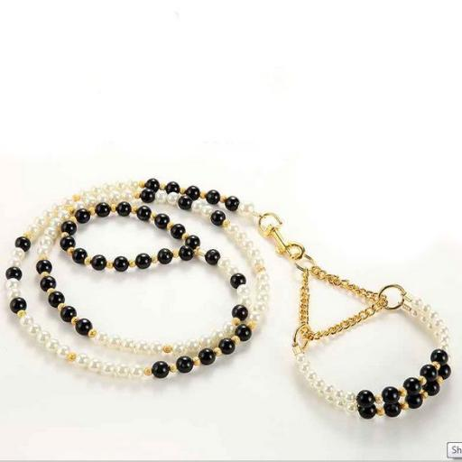 Clásico Conjunto de Collar más Correa con Perlas [0]