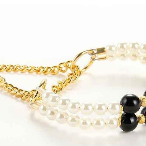 Clásico Conjunto de Collar más Correa con Perlas [1]