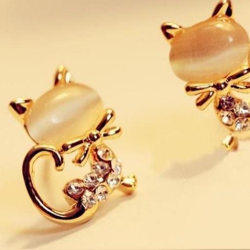 endientes en forma de gato con pequeños cristales de Rhinestone [1]