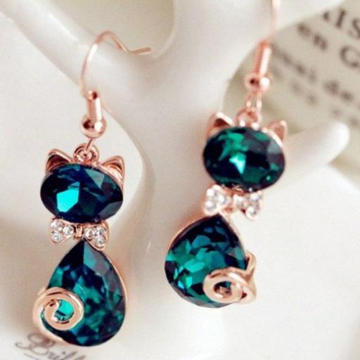 Pendientes en forma de gato color esmeralda cristal de Rhinestone [2]
