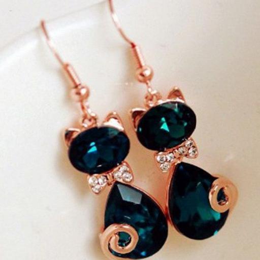 Pendientes en forma de gato color esmeralda cristal de Rhinestone [3]