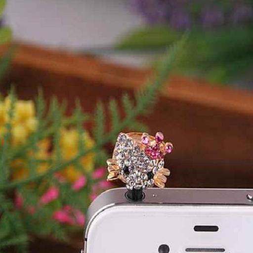 Tapón para telf móvil en forma gatito con cristal Rhinestone [2]