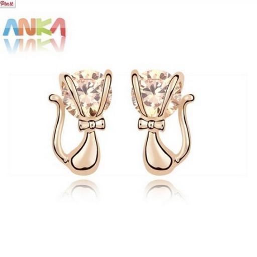 Pendientes en forma de gatitos chapado en oro [1]