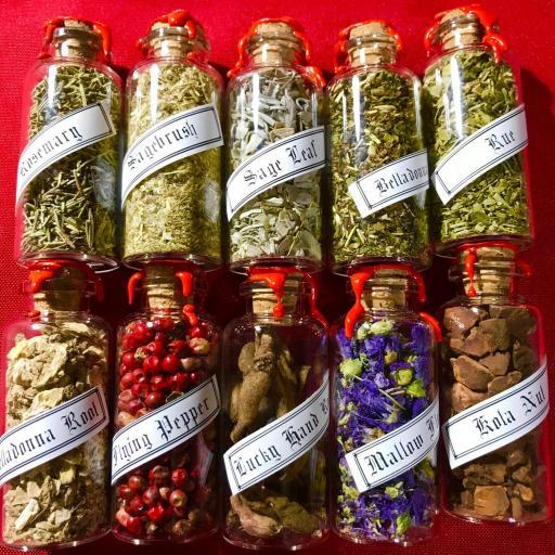 x 10 botellas de raíces y plantas mágicas para Rituales,Hechizos y Brujerias
