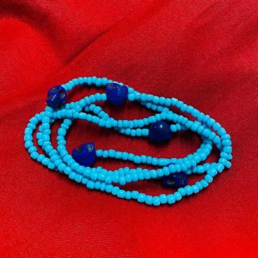 Collar Ritualizado Santa Muerte Azul Eleke Santeria inlé INLE ( ABRE CAMINOS )