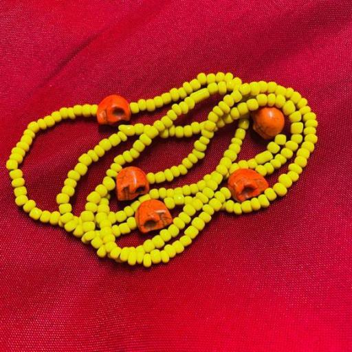 Collar Ritualizado Santa Muerte Amarillo Eleke Santeria inlé INLE ( DINERO. JUEGOS Y LOTERIA )