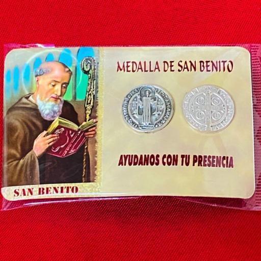 ESTAMPA SAN BENITO CON MEDALLA , ORACION Y AGUA BENDITA