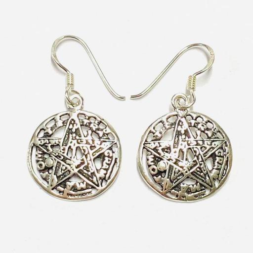 Pendientes Ritualizados Tetragramaton  -   Protección  - Plata de ley 925