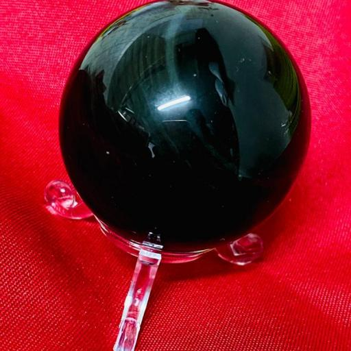 Esfera de Obsidiana Arcoiris 50mm con peana de metraquilato
