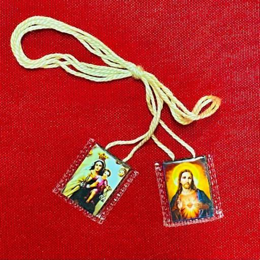 ESCAPULARIO VIRGEN DEL CARMEN Y CORAZON DE JESUS