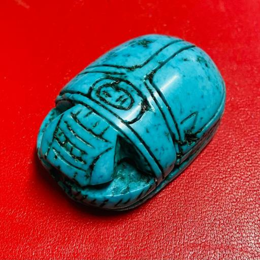 Colgante Escarabajo Egipcio Turquenita  35/40mm (hecho a mano )