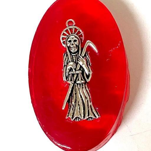 "Jabon Esoterico con Amuleto "" Santa Muerte"" 60gr."