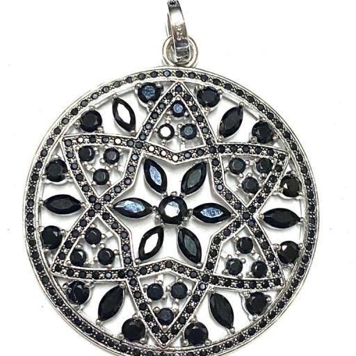 Amuleto - Colgante - Flor Negra - Poder de Brujas - Plata de Ley 925 (Ritualizado) 47mm