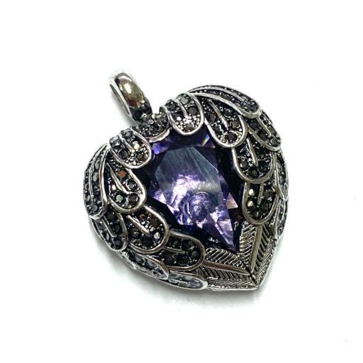 Amuleto - Colgante - Proteccion Angeles Amatista - Plata de Ley 925 (Ritualizado) 3 cm