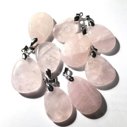 Colgante Plano Cuarzo Rosa mineral 2'5/3 cm