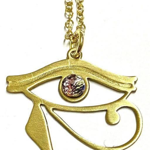 Colgante  Ritualizado OJO DE HORUS - Protección - Potente amuleto - Amatista y Plata de ley 925 bañada en oro
