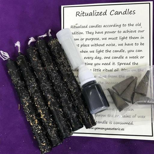 Rompe Brujerias Set x 5 Velas Ritualizadas, Polvo, Aceite, lncienso