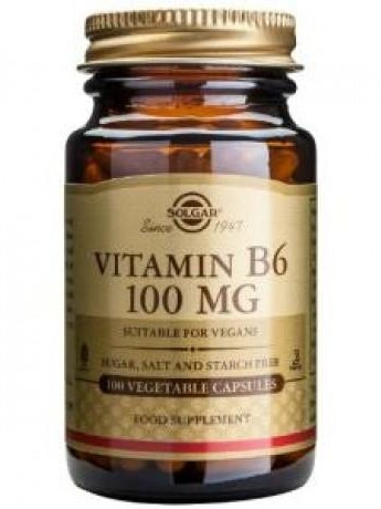 VITAMINA B6, 100 MG. 100 CAPS. SOLGAR
