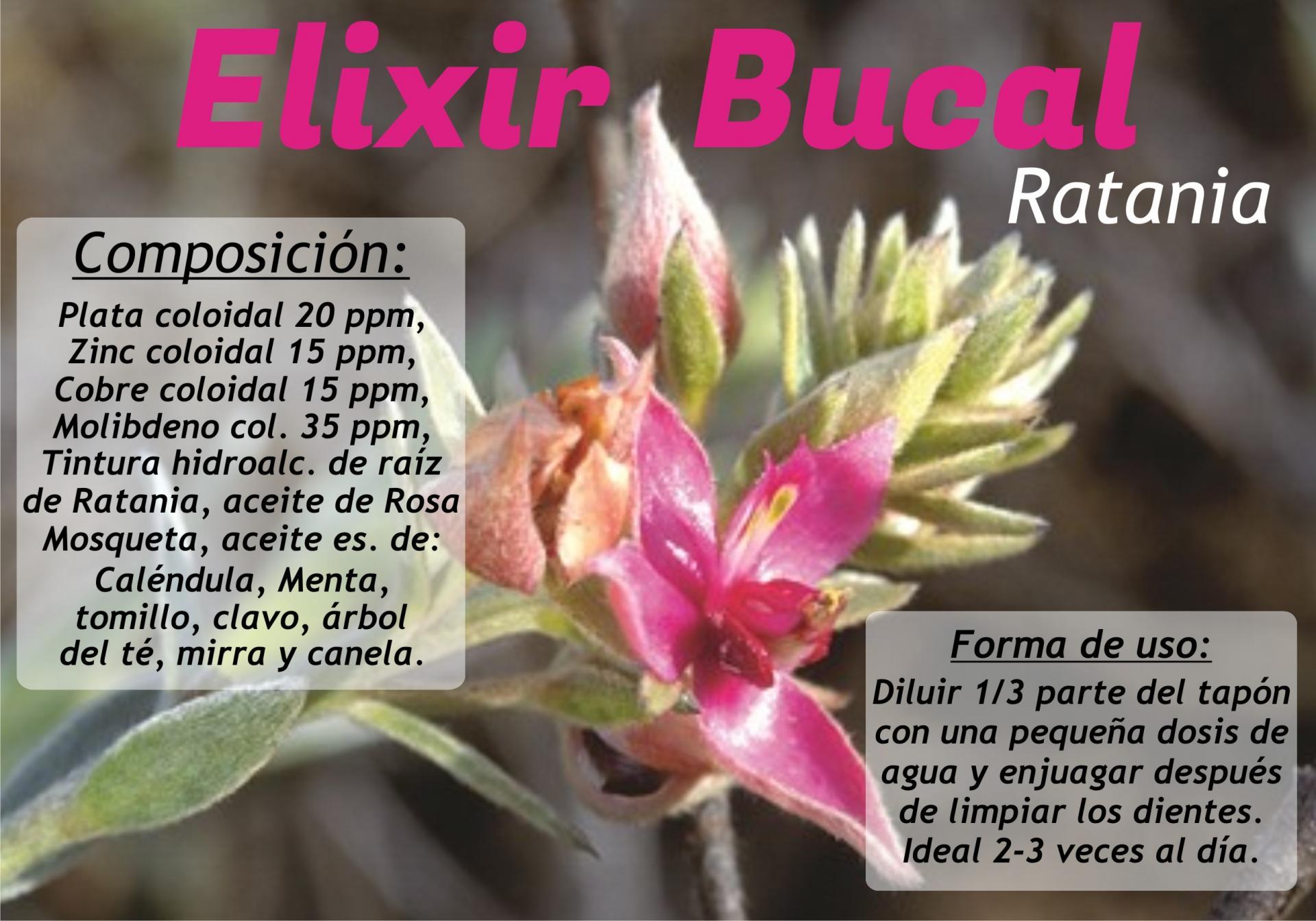 ELIXIR BUCAL CON RATANIA, 100 ML.