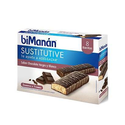 Bimanan Barritas Chocolate Negro y Blanco 8 unidades