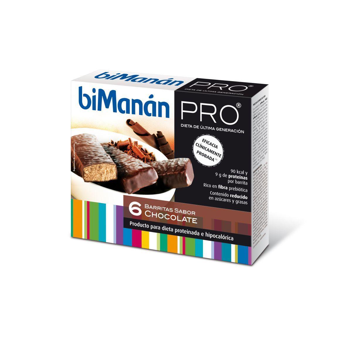 Bimanan Pro Barritas de chocolate 6 unidades