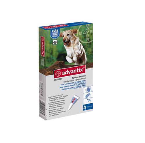 ADVANTIX Solución Spot para perros de más de 25 Kg - 4 unidades de 4 mL