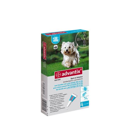 ADVANTIX Solución Spot para perros de 4 a 10 Kg - 4 unidades de 1 mL
