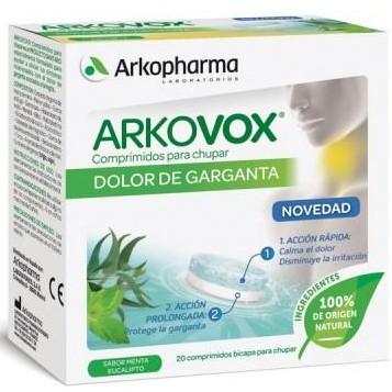 ARKOVOX DOLOR DE GARGANTA 20 COMPRIMIDOS PARA CHUPAR SABOR MENTA/EUCALIPTO