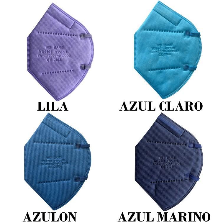 MASCARILLA FFP2 COLOR LILA, AZUL, AZULON O AZUL MARINO