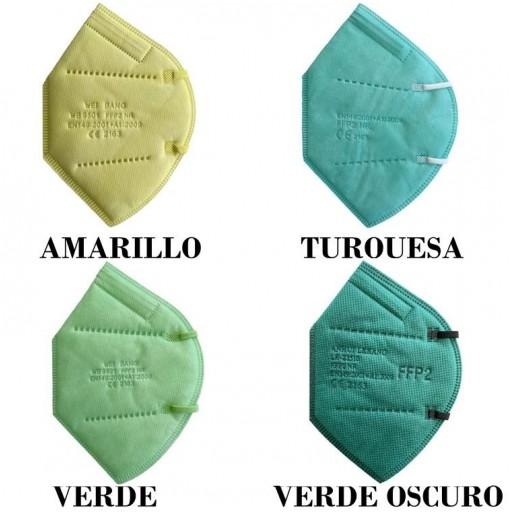 MASCARILLA FFP2 COLOR AMARILLO, TURQUESA, VERDE Y VERDE OSCURO