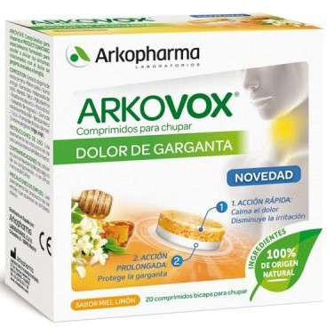 ARKOVOX DOLOR DE GARGANTA 20 COMPRIMIDOS PARA CHUPAR SABOR MIEL/LIMÓN